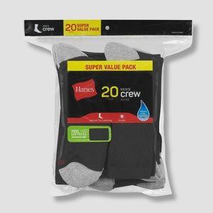 Hanes Men's Crew Super Value Socks 20pk - Black/Gr